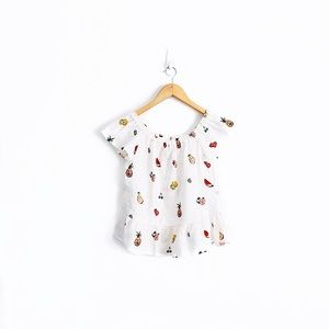 NWT Zara Fruit Print Linen Off-The-Shoulder Top